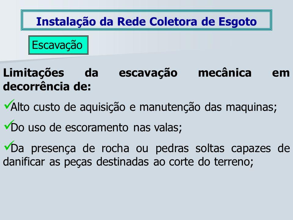 Instalação da Rede Coletora de Esgoto Escavação Limitações da escavação mecânica em decorrência de: Alto custo de aquisição e manutenção das maquinas;