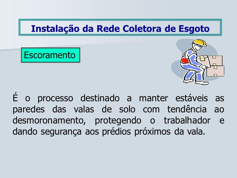 Instalação da Rede Coletora de Esgoto Escoramento É o processo destinado a manter estáveis as paredes das valas de solo com tendência ao desmoronament