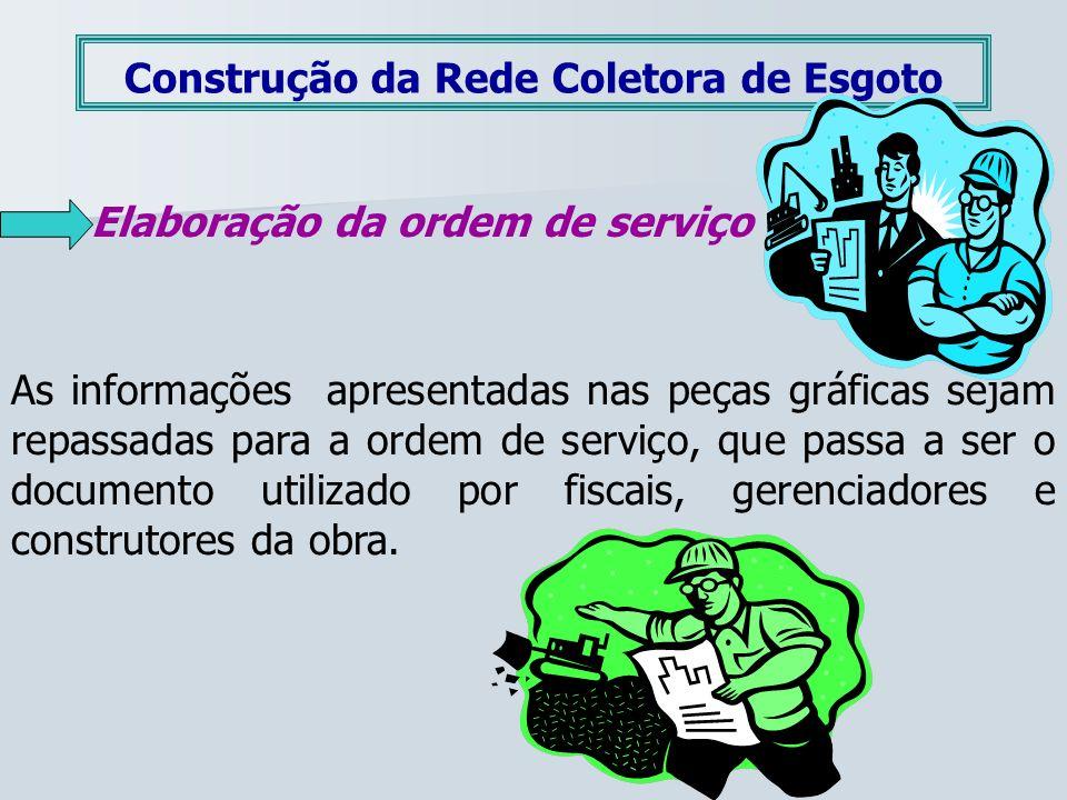 Construção da Rede Coletora de Esgoto Elaboração da ordem de serviço As informações apresentadas nas peças gráficas sejam repassadas para a ordem de s
