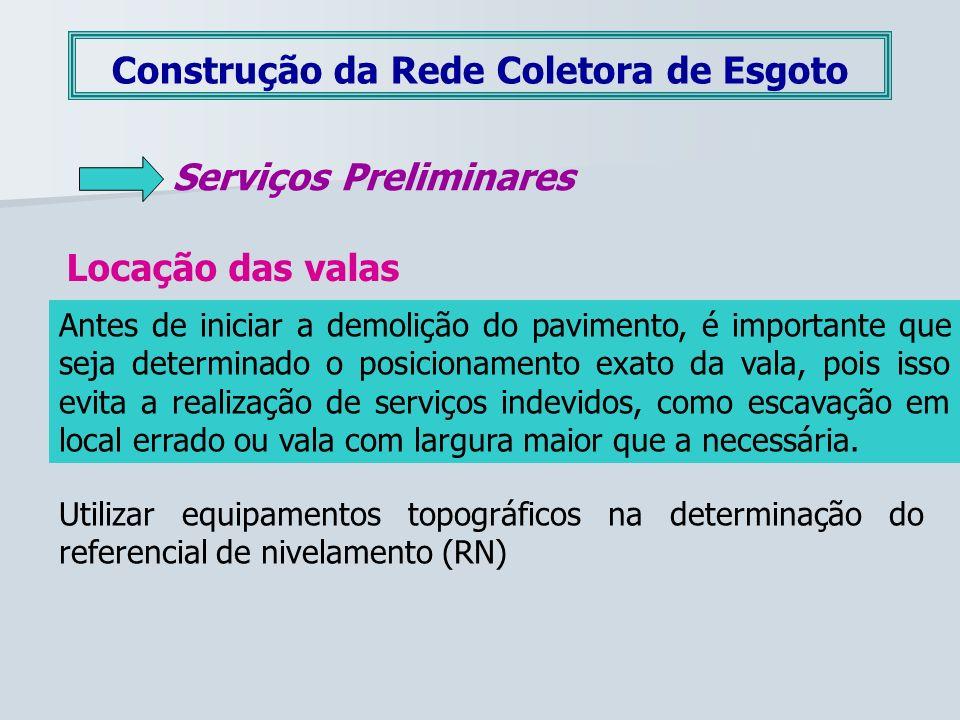 Construção da Rede Coletora de Esgoto Serviços Preliminares Locação das valas Antes de iniciar a demolição do pavimento, é importante que seja determi