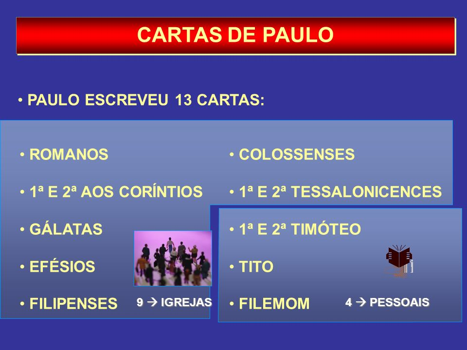 CARTAS DE PAULO PAULO ESCREVEU 13 CARTAS: ROMANOS 1ª E 2ª AOS CORÍNTIOS GÁLATAS EFÉSIOS FILIPENSES COLOSSENSES 1ª E 2ª TESSALONICENCES 1ª E 2ª TIMÓTEO