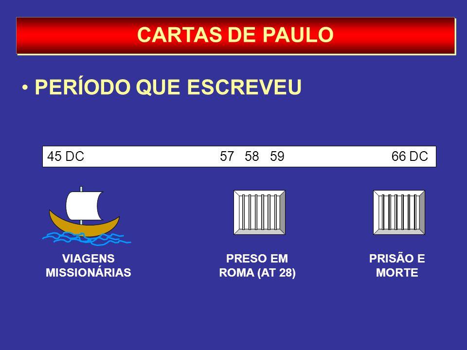 CARTAS DE PAULO PERÍODO QUE ESCREVEU VIAGENS MISSIONÁRIAS PRESO EM ROMA (AT 28) PRISÃO E MORTE 45 DC 57 58 59 66 DC
