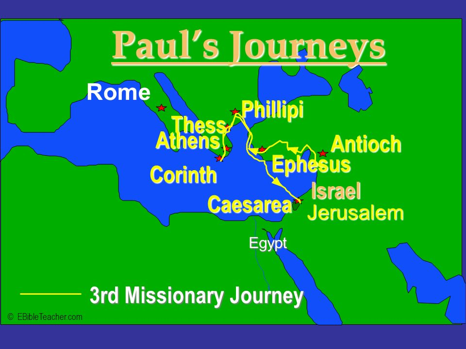 Click to add textClick to add text 3rd Missionary Journey Israel Jerusalem Egypt Pauls Journeys Rome Antioch Phillipi Corinth Thess Athens Caesarea Ep