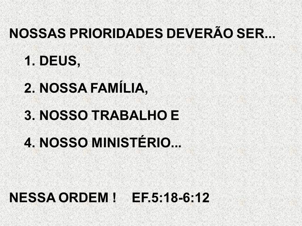NOSSAS PRIORIDADES DEVERÃO SER... 1.DEUS, 2.NOSSA FAMÍLIA, 3.NOSSO TRABALHO E 4.NOSSO MINISTÉRIO... NESSA ORDEM ! EF.5:18-6:12