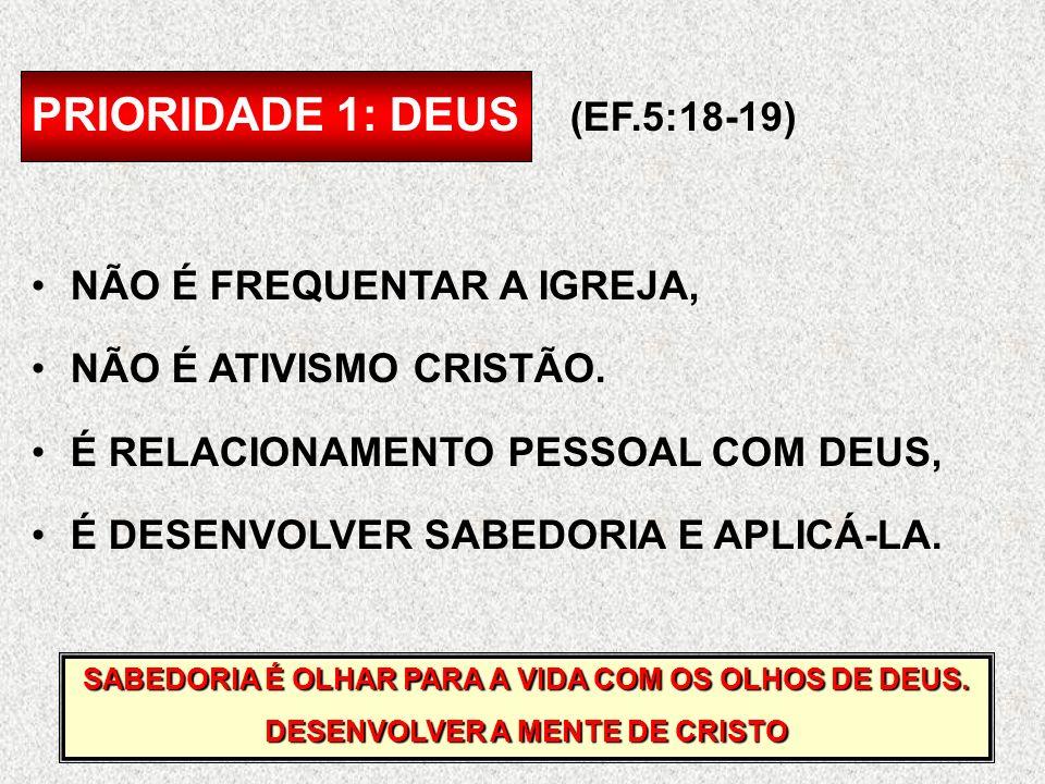 PRIORIDADE 1: DEUS (EF.5:18-19) NÃO É FREQUENTAR A IGREJA, NÃO É ATIVISMO CRISTÃO. É RELACIONAMENTO PESSOAL COM DEUS, É DESENVOLVER SABEDORIA E APLICÁ