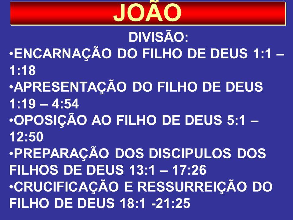 JOÃO DIVISÃO: ENCARNAÇÃO DO FILHO DE DEUS 1:1 – 1:18 APRESENTAÇÃO DO FILHO DE DEUS 1:19 – 4:54 OPOSIÇÃO AO FILHO DE DEUS 5:1 – 12:50 PREPARAÇÃO DOS DI