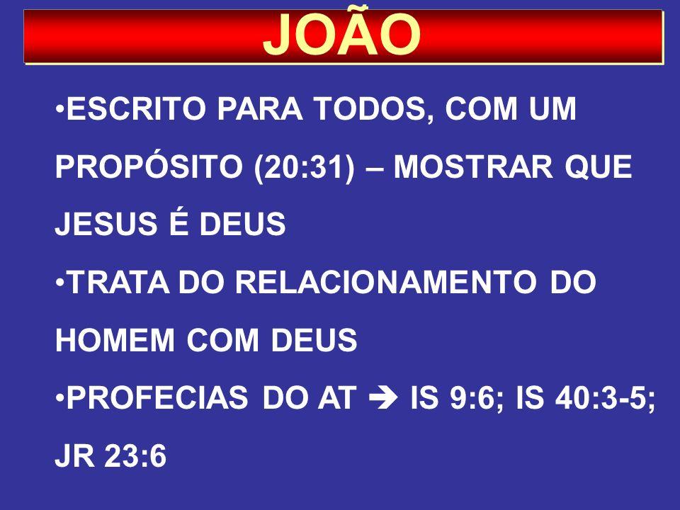 JOÃO ESCRITO PARA TODOS, COM UM PROPÓSITO (20:31) – MOSTRAR QUE JESUS É DEUS TRATA DO RELACIONAMENTO DO HOMEM COM DEUS PROFECIAS DO AT IS 9:6; IS 40:3