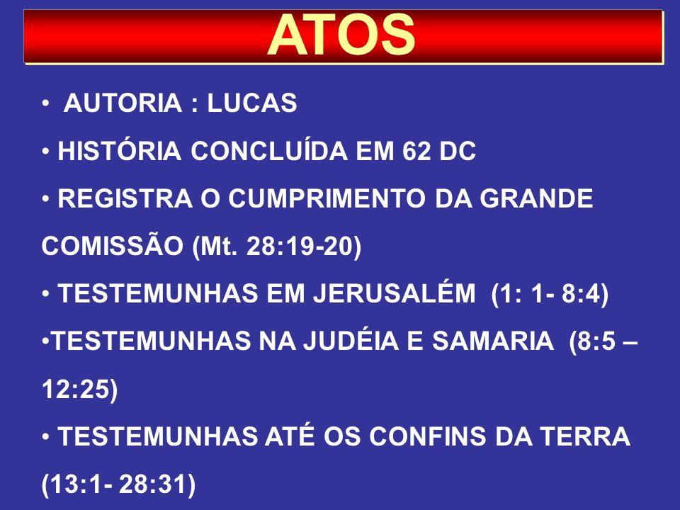 ATOS AUTORIA : LUCAS HISTÓRIA CONCLUÍDA EM 62 DC REGISTRA O CUMPRIMENTO DA GRANDE COMISSÃO (Mt. 28:19-20) TESTEMUNHAS EM JERUSALÉM (1: 1- 8:4) TESTEMU