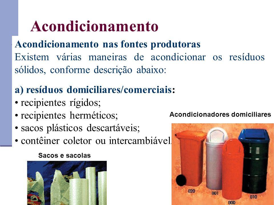 Acondicionamento Acondicionamento nas fontes produtoras Existem várias maneiras de acondicionar os resíduos sólidos, conforme descrição abaixo: a) res