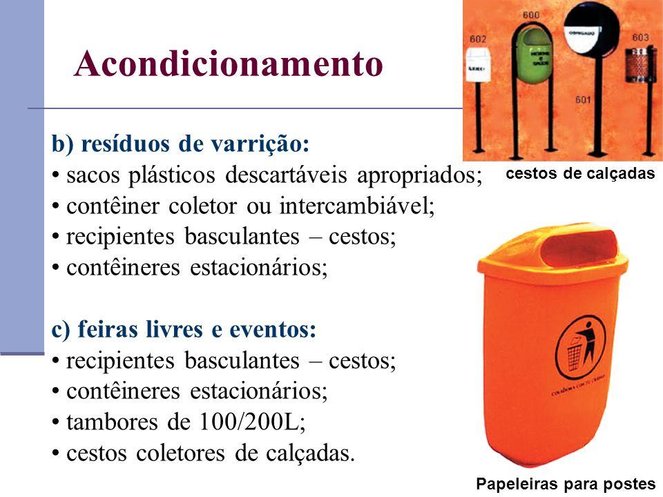 b) resíduos de varrição: sacos plásticos descartáveis apropriados; contêiner coletor ou intercambiável; recipientes basculantes – cestos; contêineres