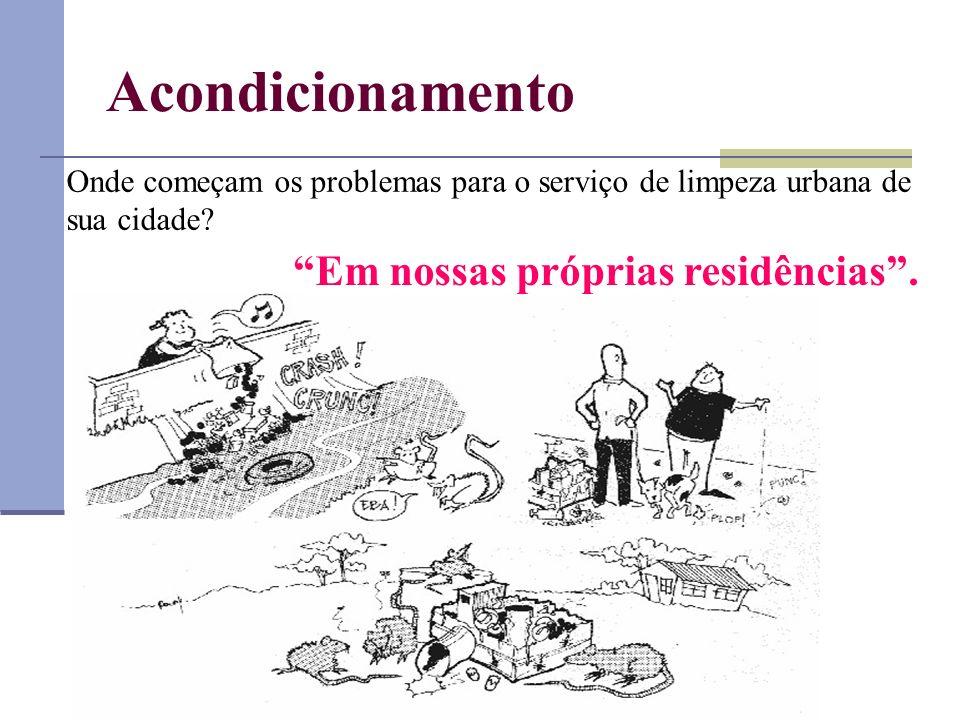 Acondicionamento Onde começam os problemas para o serviço de limpeza urbana de sua cidade? Em nossas próprias residências.