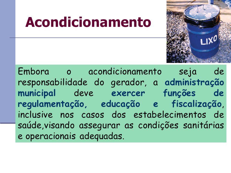 Acondicionamento Embora o acondicionamento seja de responsabilidade do gerador, a administração municipal deve exercer funções de regulamentação, educ
