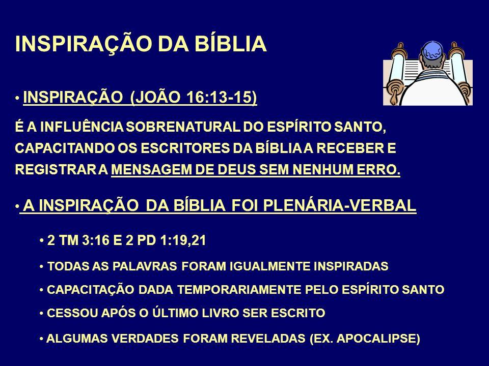 INSPIRAÇÃO DA BÍBLIA INSPIRAÇÃO (JOÃO 16:13-15) É A INFLUÊNCIA SOBRENATURAL DO ESPÍRITO SANTO, CAPACITANDO OS ESCRITORES DA BÍBLIA A RECEBER E REGISTRAR A MENSAGEM DE DEUS SEM NENHUM ERRO.