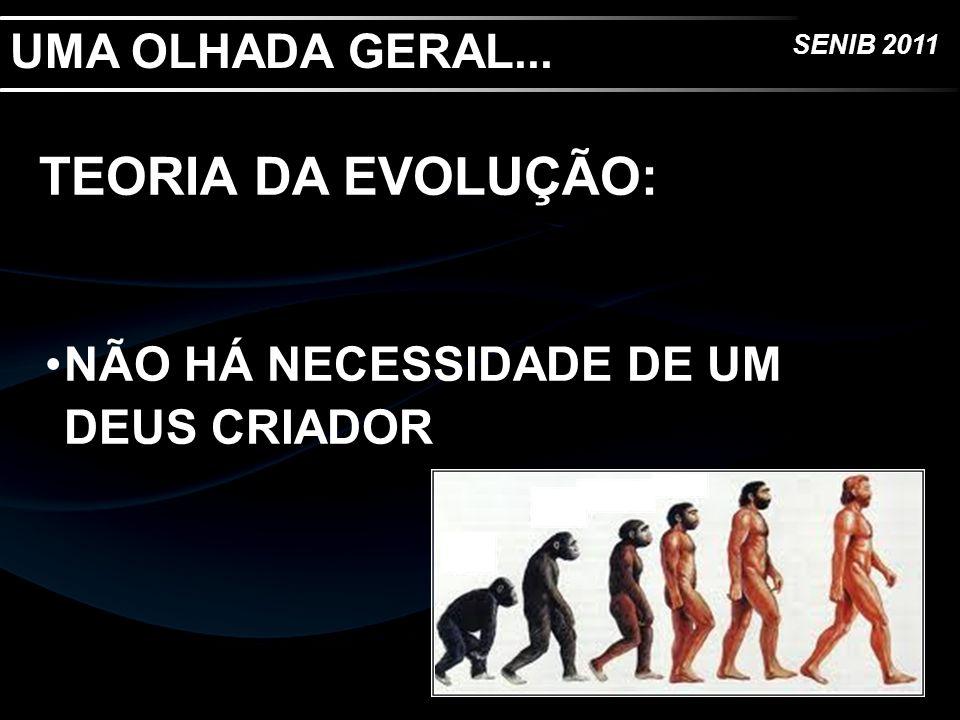 SENIB 2011 UMA OLHADA GERAL... TEORIA DA EVOLUÇÃO: NÃO HÁ NECESSIDADE DE UM DEUS CRIADOR