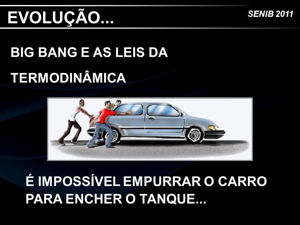 SENIB 2011 EVOLUÇÃO... BIG BANG E AS LEIS DA TERMODINÂMICA É IMPOSSÍVEL EMPURRAR O CARRO PARA ENCHER O TANQUE...