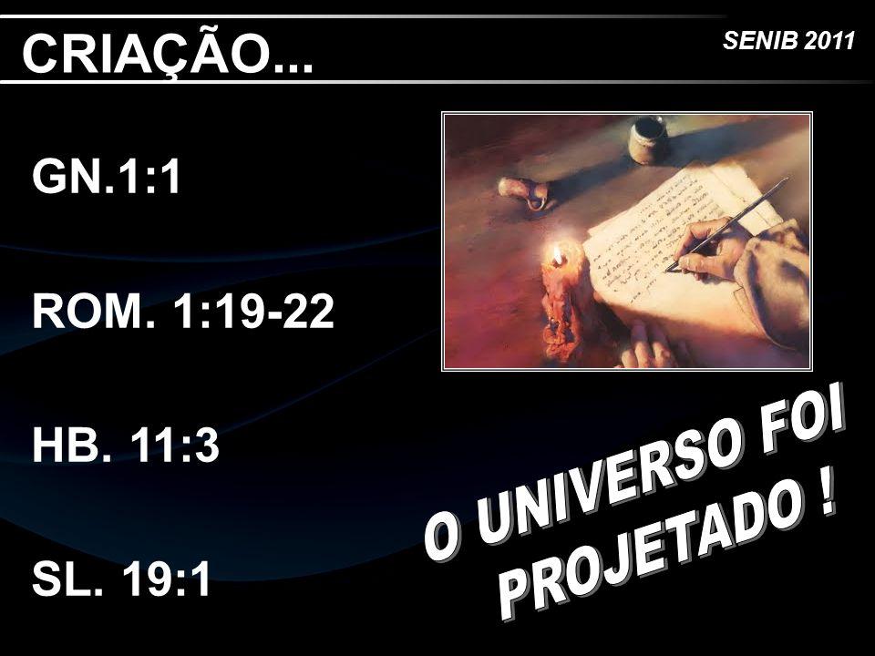SENIB 2011 CRIAÇÃO... GN.1:1 ROM. 1:19-22 HB. 11:3 SL. 19:1
