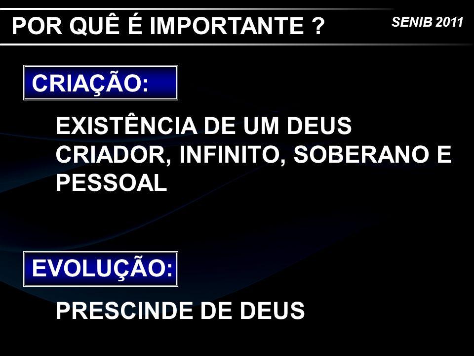 SENIB 2011 CRIAÇÃO: TEÍSMO, SOBRENATURALISMO EVOLUÇÃO: HUMANISMO, MATERIALISMO POR QUÊ É IMPORTANTE ?