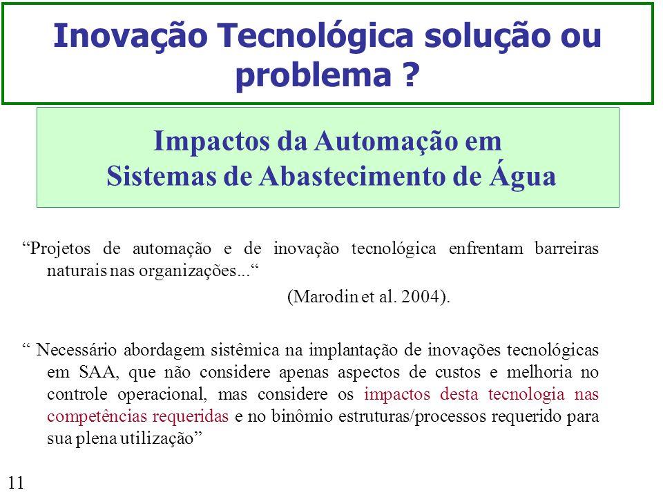 11 Inovação Tecnológica solução ou problema ? Impactos da Automação em Sistemas de Abastecimento de Água Projetos de automação e de inovação tecnológi