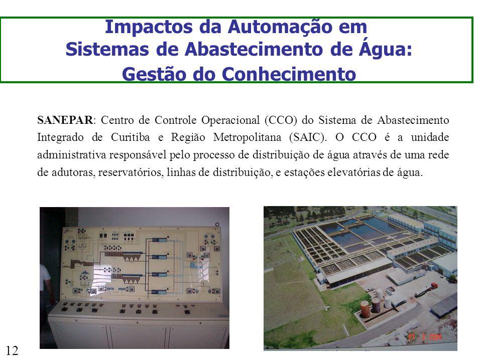 12 Impactos da Automação em Sistemas de Abastecimento de Água: Gestão do Conhecimento SANEPAR: Centro de Controle Operacional (CCO) do Sistema de Abas