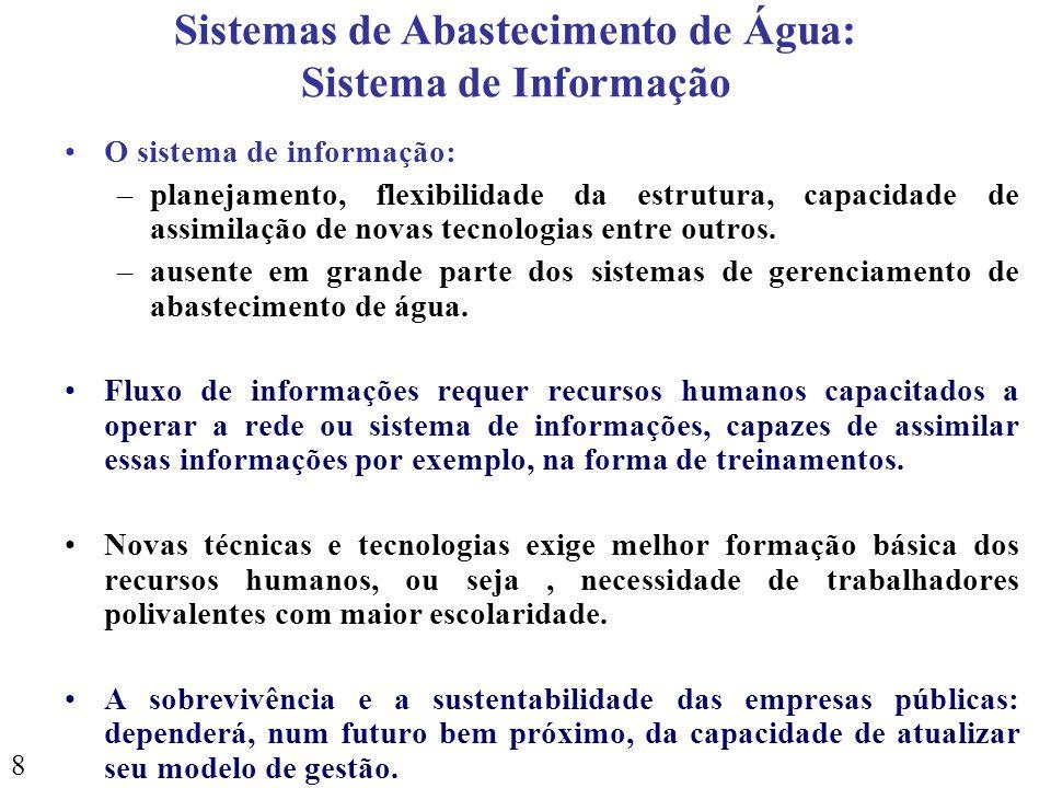 8 O sistema de informação: –planejamento, flexibilidade da estrutura, capacidade de assimilação de novas tecnologias entre outros. –ausente em grande
