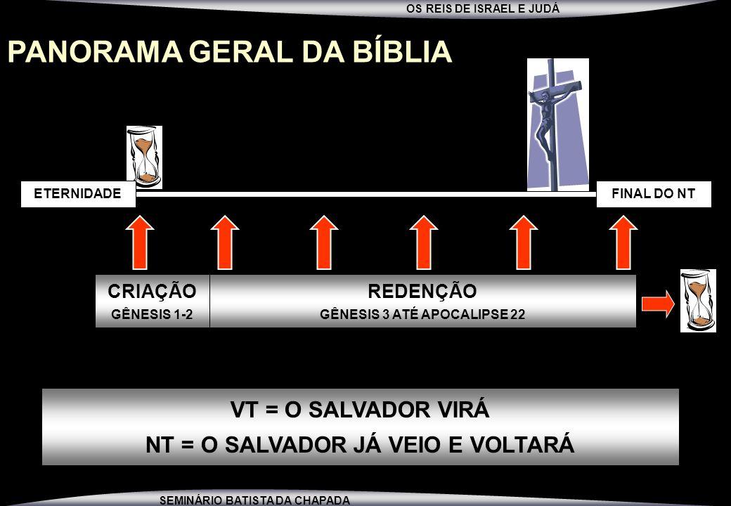 OS REIS DE ISRAEL E JUDÁ SEMINÁRIO BATISTA DA CHAPADA PANORAMA GERAL DA BÍBLIA FINAL DO NTETERNIDADE CRIAÇÃO GÊNESIS 1-2 REDENÇÃO GÊNESIS 3 ATÉ APOCAL