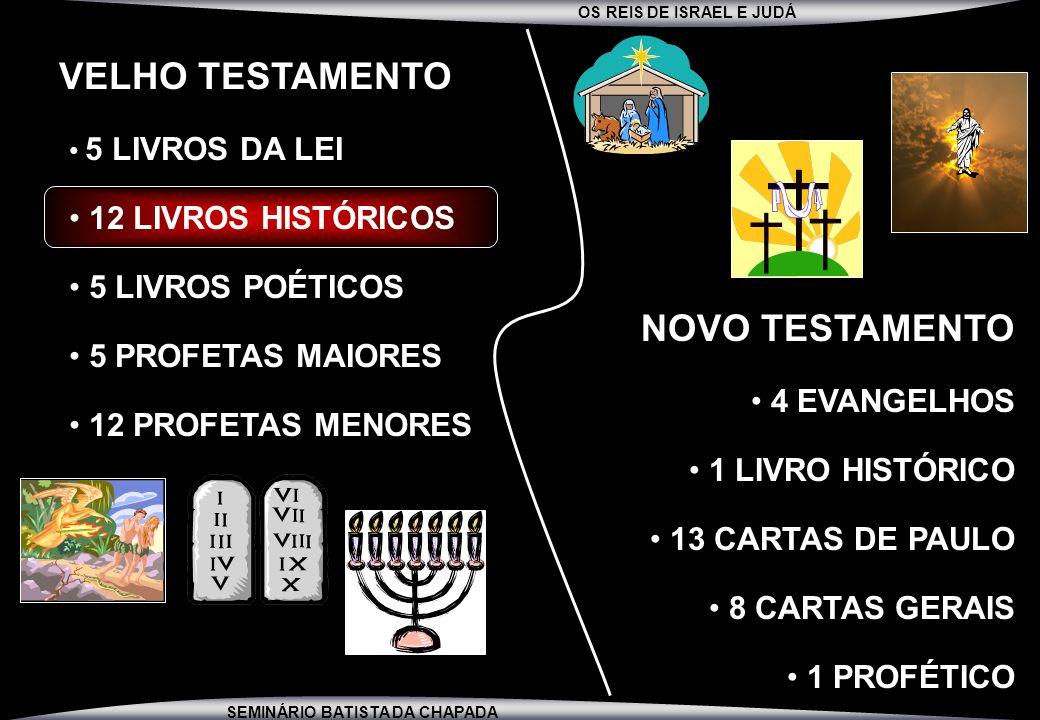 OS REIS DE ISRAEL E JUDÁ SEMINÁRIO BATISTA DA CHAPADA VELHO TESTAMENTO 5 LIVROS DA LEI 12 LIVROS HISTÓRICOS 5 LIVROS POÉTICOS 5 PROFETAS MAIORES 12 PR