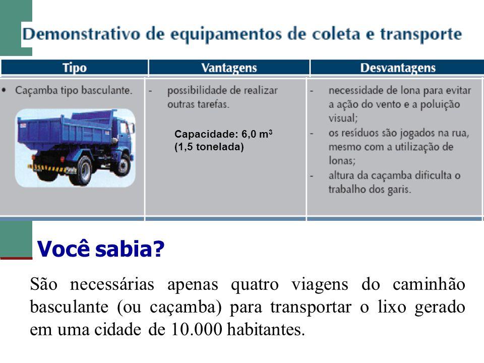Capacidade: 6,0 m 3 (1,5 tonelada) São necessárias apenas quatro viagens do caminhão basculante (ou caçamba) para transportar o lixo gerado em uma cid