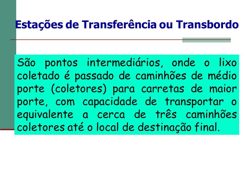 Estações de Transferência ou Transbordo São pontos intermediários, onde o lixo coletado é passado de caminhões de médio porte (coletores) para carreta