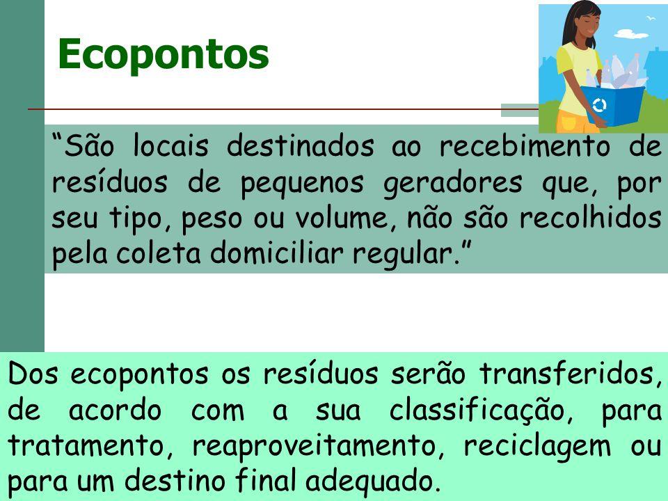 Ecopontos São locais destinados ao recebimento de resíduos de pequenos geradores que, por seu tipo, peso ou volume, não são recolhidos pela coleta dom