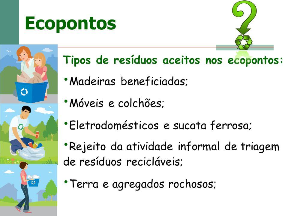 Ecopontos Tipos de resíduos aceitos nos ecopontos: Madeiras beneficiadas; Móveis e colchões; Eletrodomésticos e sucata ferrosa; Rejeito da atividade i