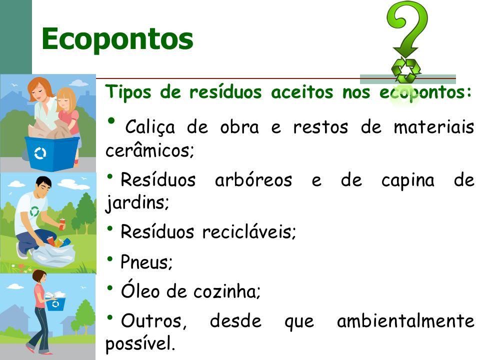 Ecopontos Tipos de resíduos aceitos nos ecopontos: Caliça de obra e restos de materiais cerâmicos; Resíduos arbóreos e de capina de jardins; Resíduos