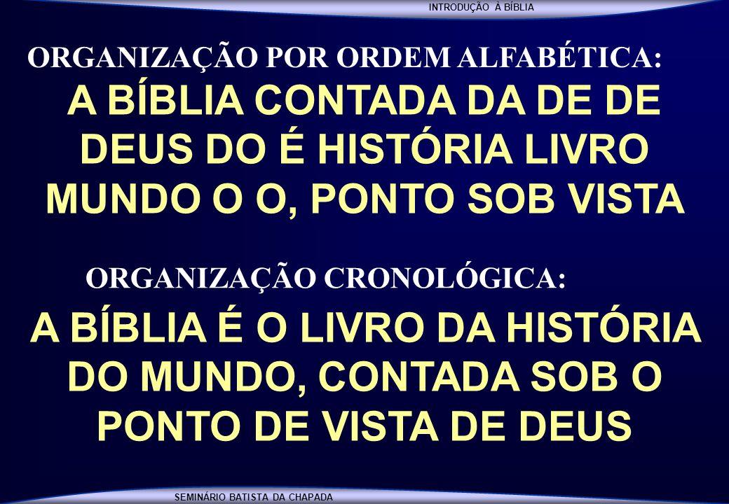 INTRODUÇÃO À BÍBLIA SEMINÁRIO BATISTA DA CHAPADA A BÍBLIA CONTADA DA DE DE DEUS DO É HISTÓRIA LIVRO MUNDO O O, PONTO SOB VISTA A BÍBLIA É O LIVRO DA H