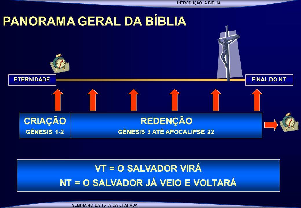 INTRODUÇÃO À BÍBLIA SEMINÁRIO BATISTA DA CHAPADA PANORAMA GERAL DA BÍBLIA FINAL DO NTETERNIDADE CRIAÇÃO GÊNESIS 1-2 REDENÇÃO GÊNESIS 3 ATÉ APOCALIPSE