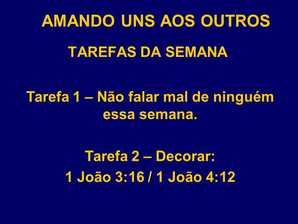 AMANDO UNS AOS OUTROS TAREFAS DA SEMANA Tarefa 3 – Ler todo dia 1 Coríntios 13:4-7.