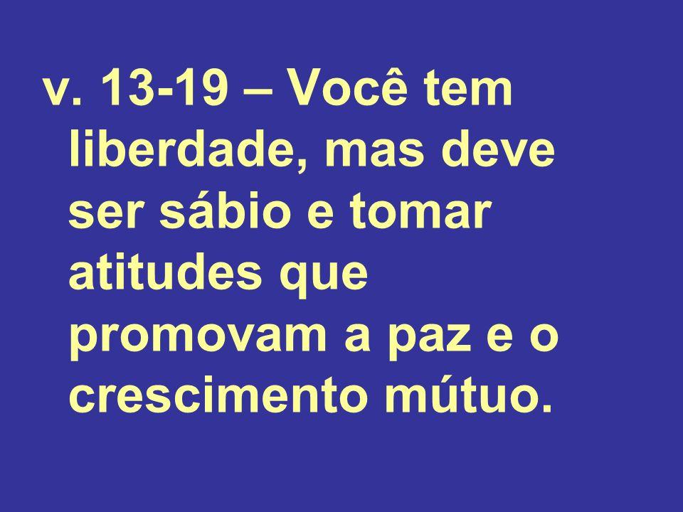 v. 13-19 – Você tem liberdade, mas deve ser sábio e tomar atitudes que promovam a paz e o crescimento mútuo.