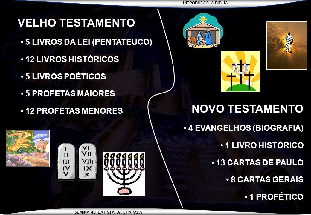 INTRODUÇÃO À BÍBLIA SEMINÁRIO BATISTA DA CHAPADA VELHO TESTAMENTO 5 LIVROS DA LEI (PENTATEUCO) 12 LIVROS HISTÓRICOS 5 LIVROS POÉTICOS 5 PROFETAS MAIOR