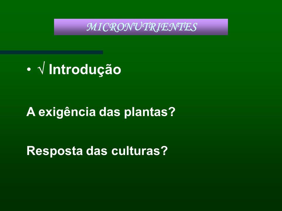 Introdução A exigência das plantas? Resposta das culturas? MICRONUTRIENTES