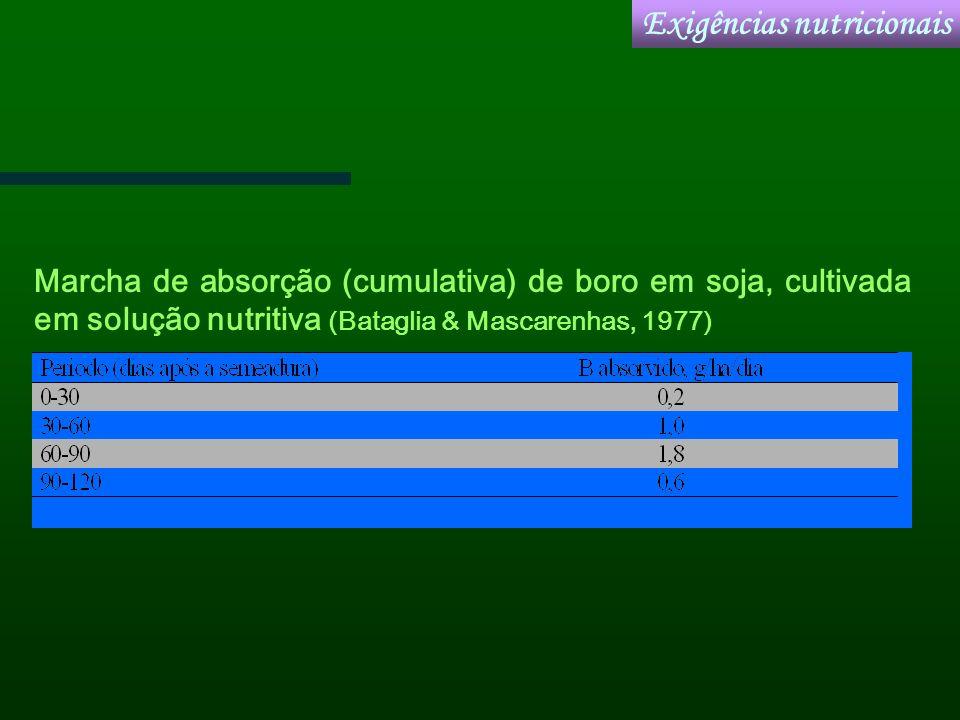 Marcha de absorção (cumulativa) de boro em soja, cultivada em solução nutritiva (Bataglia & Mascarenhas, 1977) Exigências nutricionais