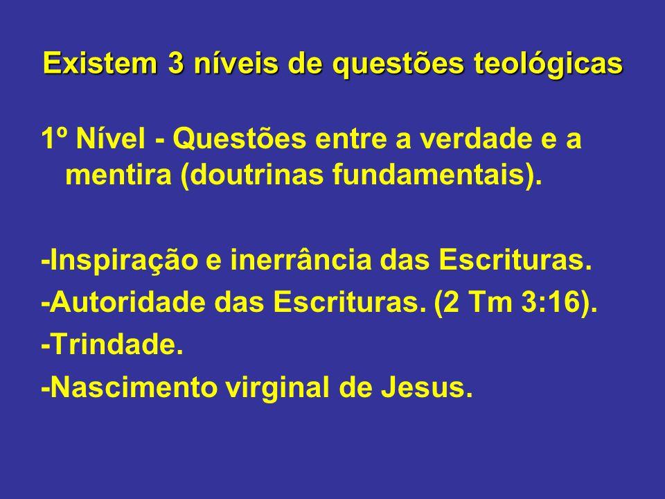 Existem 3 níveis de questões teológicas 1º Nível - Questões entre a verdade e a mentira (doutrinas fundamentais). -Inspiração e inerrância das Escritu