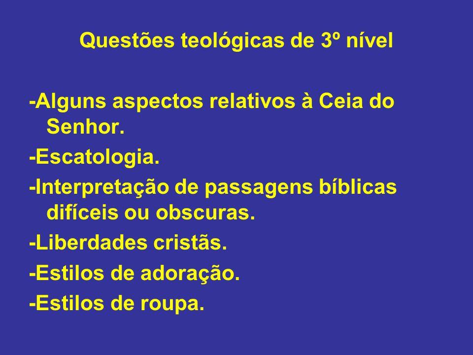 Questões teológicas de 3º nível -Alguns aspectos relativos à Ceia do Senhor. -Escatologia. -Interpretação de passagens bíblicas difíceis ou obscuras.