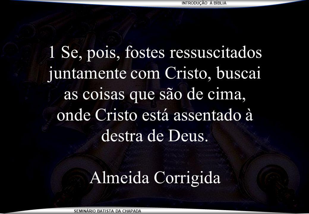 INTRODUÇÃO À BÍBLIA SEMINÁRIO BATISTA DA CHAPADA 1 Se, pois, fostes ressuscitados juntamente com Cristo, buscai as coisas que são de cima, onde Cristo