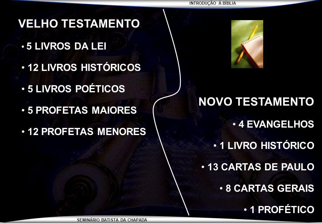 INTRODUÇÃO À BÍBLIA SEMINÁRIO BATISTA DA CHAPADA VELHO TESTAMENTO 5 LIVROS DA LEI 12 LIVROS HISTÓRICOS 5 LIVROS POÉTICOS 5 PROFETAS MAIORES 12 PROFETA