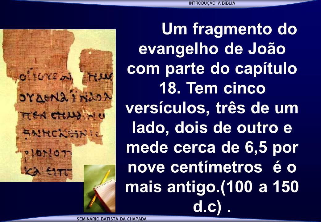 INTRODUÇÃO À BÍBLIA SEMINÁRIO BATISTA DA CHAPADA INTRODUÇÃO À BÍBLIA Um fragmento do evangelho de João com parte do capítulo 18. Tem cinco versículos,