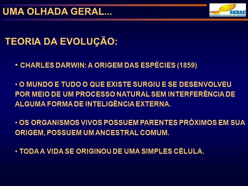 UMA OLHADA GERAL... TEORIA DA EVOLUÇÃO: CHARLES DARWIN: A ORIGEM DAS ESPÉCIES (1859) O MUNDO E TUDO O QUE EXISTE SURGIU E SE DESENVOLVEU POR MEIO DE U