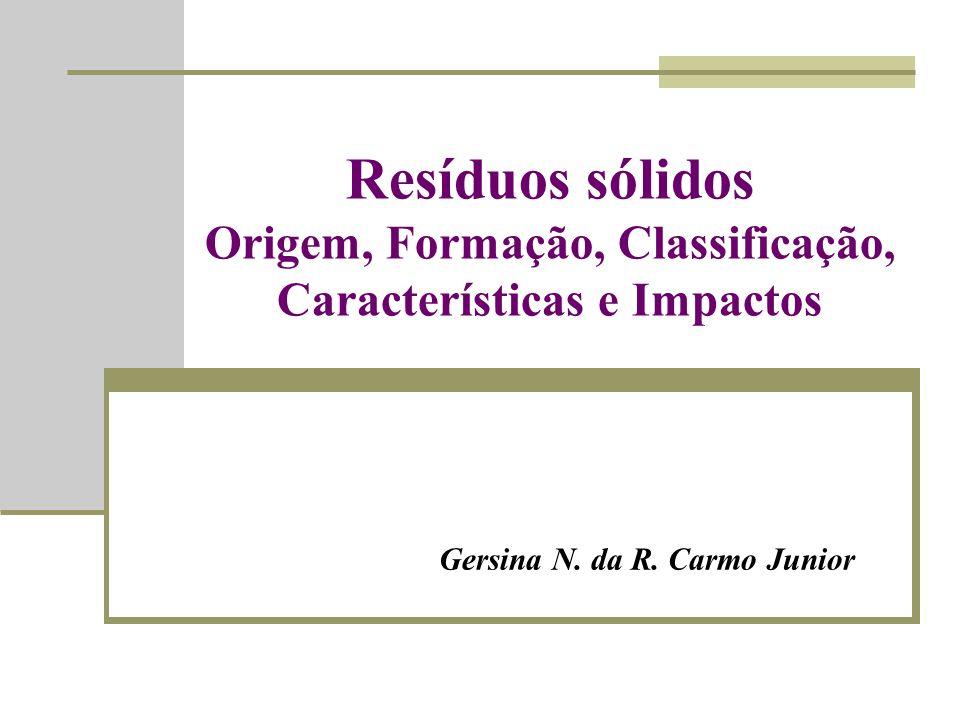 Resíduos sólidos Origem, Formação, Classificação, Características e Impactos Gersina N.