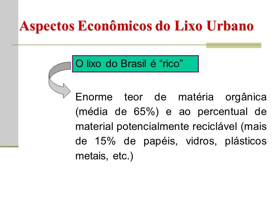 Aspectos Econômicos do Lixo Urbano O lixo do Brasil é rico Enorme teor de matéria orgânica (média de 65%) e ao percentual de material potencialmente reciclável (mais de 15% de papéis, vidros, plásticos metais, etc.)