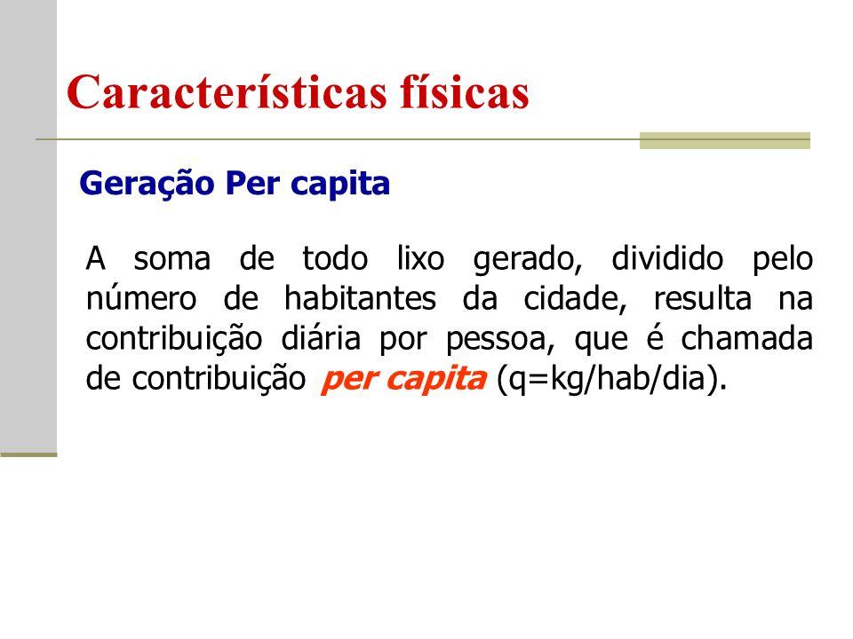 Características físicas Geração Per capita A soma de todo lixo gerado, dividido pelo número de habitantes da cidade, resulta na contribuição diária por pessoa, que é chamada de contribuição per capita (q=kg/hab/dia).