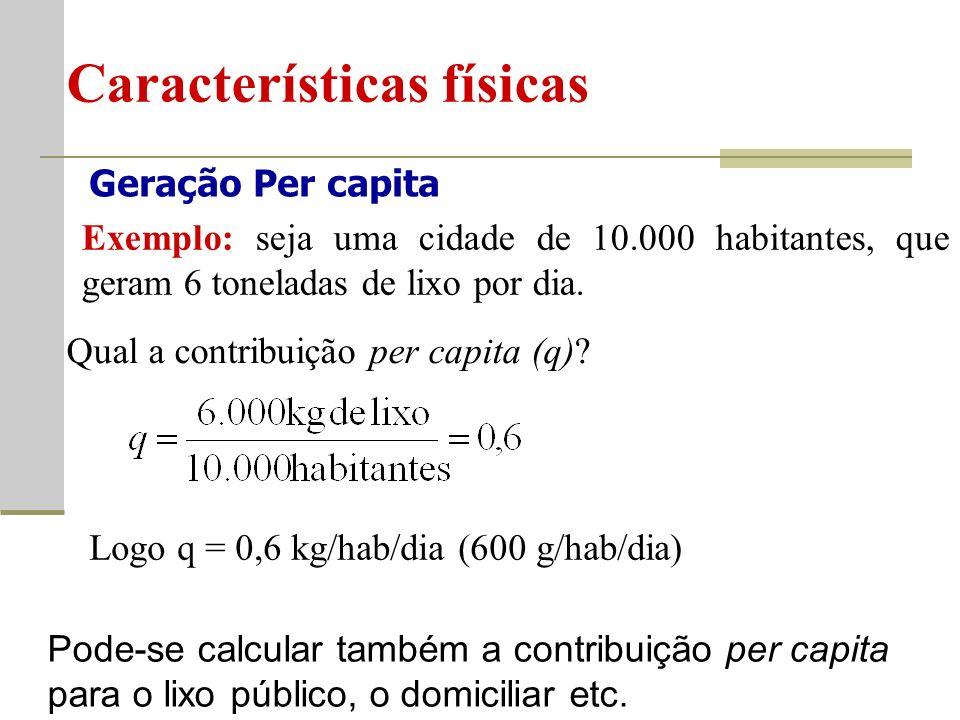 Geração Per capita Características físicas Exemplo: seja uma cidade de 10.000 habitantes, que geram 6 toneladas de lixo por dia.