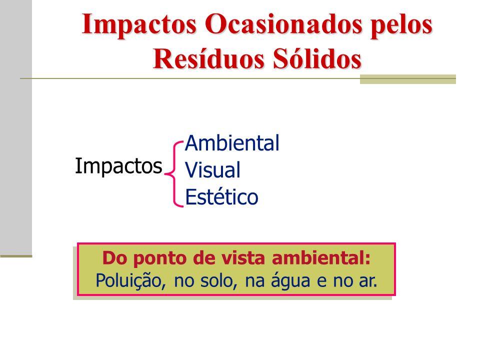 Impactos Ocasionados pelos Resíduos Sólidos Impactos Ambiental Visual Estético Do ponto de vista ambiental: Poluição, no solo, na água e no ar.