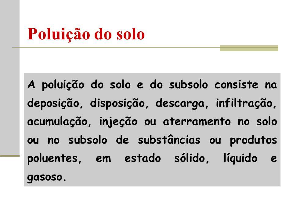Poluição do solo A poluição do solo e do subsolo consiste na deposição, disposição, descarga, infiltração, acumulação, injeção ou aterramento no solo ou no subsolo de substâncias ou produtos poluentes, em estado sólido, líquido e gasoso.
